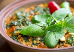 LENTIL STEW WITH SWISS CHARD AND CORIANDER PESTO
